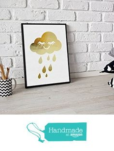 Rain Cloud Print, Real Gold Foil Print, Gold Cloud Print, Nursery Wall Decor, Kids Room Decor, Cloud Nursery Art,Cloud Wall Art, Kids Poster from Lovely Decor https://smile.amazon.com/dp/B01K290KT4/ref=hnd_sw_r_pi_dp_KRCczbHZ94BZQ #handmadeatamazon