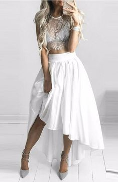 Two-Piece Crew Cap Sleeves Hi-Lo White Chiffon Prom/Homecoming Dress with Lace