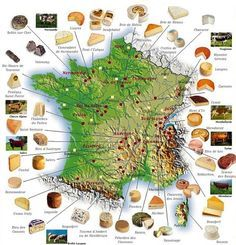 Carte de France des Fromages (map of cheeses in France) - French cheeses are by far the best in the world. French Wine, French Food, French Stuff, Epoisses, Fingers Food, Munster, Fromage Cheese, Comte Cheese, French Cheese