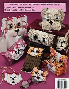 Peeper Pets ~ Eyeglass Accessories Dog Cat Cow & More plastic canvas patterns