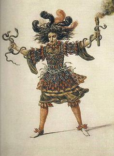 Costume de furie, porté par Louis XIV, à la quatrième (Ier acte) entrée des Noces de Pélée et de Téthys