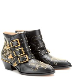 Chloé - Susanna studded leather ankle boots - Embrace studs the Chloé way with an air of effortless esprit. Smooth black leather contrasts harmoniously with high-shine gold studding, making the 'Susanna' ankle boots a must-have now and forever. seen @ www.mytheresa.com