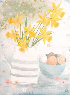 Daffodils and speckled eggs- Lucy Grossmith