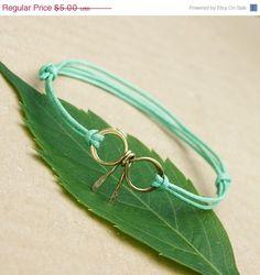 Sale Bow bracelet  friendship bracelet gold mint by SheBijouPl, $4.00