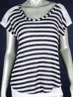 B. ENVIED CAREER CASUAL STRIPED KNIT BLOUSE LACE DETAIL CAP SLEEVES MEDIUM #BENVIED #KnitTop #Casual
