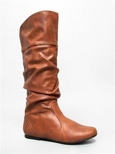 Qupid Classic Basic Casual Slouchy Flat Knee High Cognac Pu => Can't believe it's available, see it now : Knee high boots Brown Ankle Boots Outfit, Shoes Boots Ankle, Black Combat Boots, Flat Boots, Mid Calf Boots, Ugg Shoes, Brown Boots, Knee High Boots, Heeled Boots