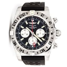 Breitling Men's AB0413B9-BD17RU 'Chronomat GMT' Chronograph Automatic Black Rubber Watch