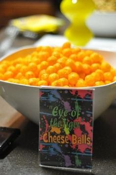 Eye of the Tiger Cheese Balls 80s Birthday Parties, 30th Party, I Party, 30th Birthday, Birthday Party Themes, Birthday Ideas, Party Ideas, Prom Party, 80s Party Foods