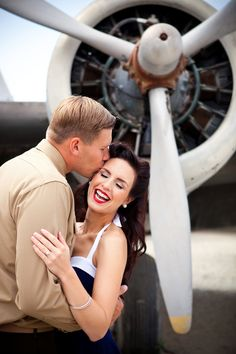 Well-Groomed Groom: Men of Honor - a military man and his bride create a vintage e-session. #groom #military #engagement
