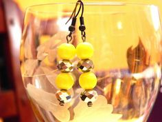 Silver tone and yellow dangle earring by gr8byz on Etsy, $9.00