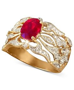 Gemma by EFFY Ruby (1-1/2 ct. t.w.) and Diamond (1/3 ct. t.w.) Ring in 14k Gold