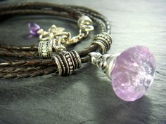 Braided Leather Amethyst Sterling Silver Necklace