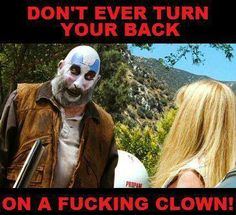 Devil's Rejects - Official Clown Business outfit, Captain Spaulding - better view of front of vest Rob Zombie Film, I Zombie, Zombie Mask, Zombie Movies, Scary Movies, Good Movies, Zombie Style, Funny Horror, Horror Films