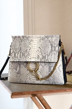 CHLOE FAYE CLUTCH WITH STRAP IN NUBUCK PYTHON AND SMALL GRAIN CALFSKIN ABSTRACT WHITE