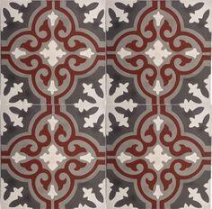 Carreaux de ciment modèle CH-01-1 Red Kitchen Decor, Mosaic Art, Flower Art, Pattern Design, Tiles, Decoration, Sweet Home, New Homes, Carpet