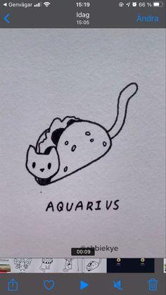 Zodiac Signs Aquarius, Zodiac Art, Mini Drawings, Art Drawings Sketches, Aquarius Aesthetic, Cat Outline, Cute Canvas Paintings, Doodle Art Drawing, Small Tattoos For Guys