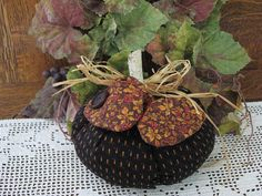 Stuffed Pumpkin Fall Black Print Rust Flecks by chickenhearts, $10.00