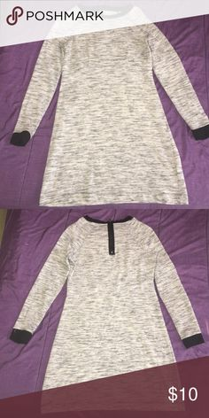 Long sleeve dress A long-sleeve black, gray and cream mini dress with a zip on the back of the dress Metaphor Dresses Mini