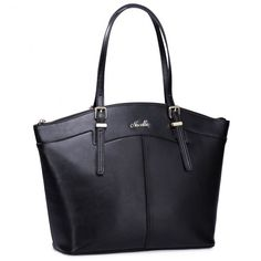 NUCELLE big size women leather shoulder bag Black- Buy it now at www.tysiza.com - Free Worldwide shipping on select products!