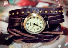 rivet double wrap leather wrist watch