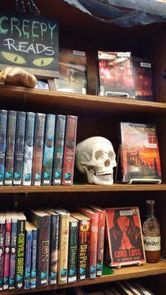 Halloween library display. YA books, young adult.