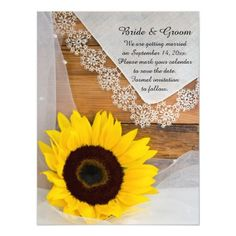 Sunflower and Lace Country Wedding Save the Date Magnetic Card