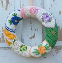 Vintage Crocheted Potholder Wreath by 20northora on Etsy, $30.00