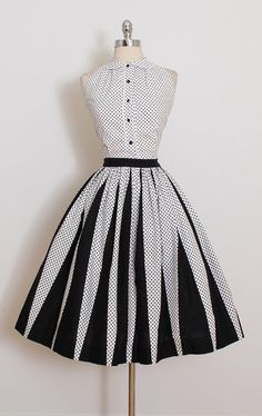 ➳ vintage 1950s two piece * black & white polkadot cotton * button front top * black striped skirt * metal side zipper skirt * by Carol King condition | excellent fits like xs/s skirt length 27 waist 25 hem allowance 2.25 top length 20 bust 38 bodice allowance 1 some clothes may be clipped on dress form to show best fit for appropriate size. ➳ shop http://www.etsy.com/shop/millstreetvintage?ref=si_shop ➳ shop policies http://www.etsy.com/...