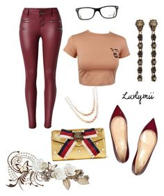 """""""Rebel"""" by luvlymii ❤ liked on Polyvore featuring Gucci, Christian Louboutin, Honora and Ray-Ban"""