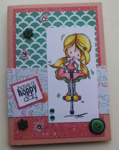 Made by Maroeska: Card with a stamp by Tiddly Inks. Colored with Copic markers. Design paper by Prima Marketing.