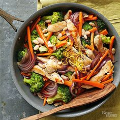 Three colorful vegetables pack this simple chicken skillet that gains an extra boost of protein (and fiber) from cannellini beans. A touch of lemon zest adds bright flavor to the low-fat dinner.
