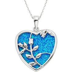 Lab-Created Blue Opal Sterling Silver Flower & Heart Pendant Necklace ($175) ❤ liked on Polyvore featuring jewelry, necklaces, accessories, blue, sterling silver charms, flower necklace, heart necklace, pendants & necklaces and charm necklace