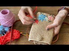 Crochet Bag Tutorials, Crochet Flower Tutorial, Crochet Videos, Crochet Projects, Crochet Basket Pattern, Crochet Diagram, Crochet Patterns, Crochet Pouch, Diy Crochet