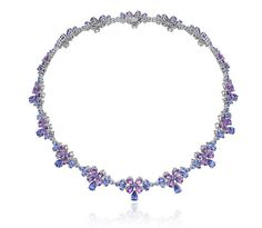 Chopard Temptations high jewellery floral tanzanite necklace.