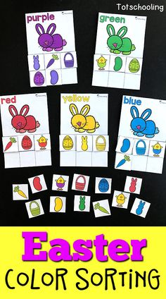 FREE printable Easter themed color sorting activity for toddlers and preschoolers. Features 10 different colored Easter bunnies as well as other objects to sort such as chicks, eggs, jelly beans, peeps, carrots, and baskets.