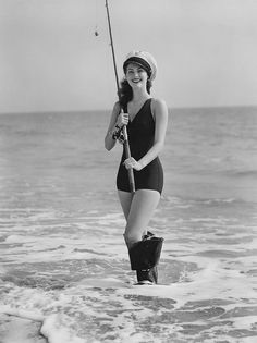 Ava Gardner - fishing im a bathing suit - most def my style!!