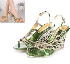 Luxury Peacock Rhinestone High Heels Womens Wedding Stiletto Thick Sandal Shoe