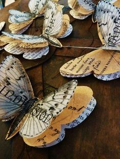 Recycled Vintage Book Pages Butterflies