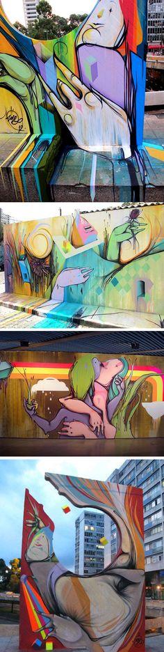 """O artista brasileiro NOVE é um dos responsáveis pelos belos muros coloridos de São Paulo. O trabalho dele já foi reconhecido em exposições como """"Graffiti Fine Art3"""", MUBE, São Paulo, Brasil em 2009, """"Two Way Street"""", Jonathan Levine Gallery, Nova York, EUA em 2010, """"Culture Shock"""", Pure Evil Gallery, Londres em 2010, """"1º Bienal Internacional de Graffiti"""", MUBE, São Paulo, Brasil em 2011 e da exposição """"Choque in Basel"""", Basel, Suíça em 2011."""