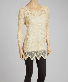 Loving this Caramel Embroidered Silk-Blend Tunic on #zulily! #zulilyfinds
