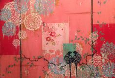 Kathe Fraga paintings, inspired by the romance of vintage Parisian wallpapers…