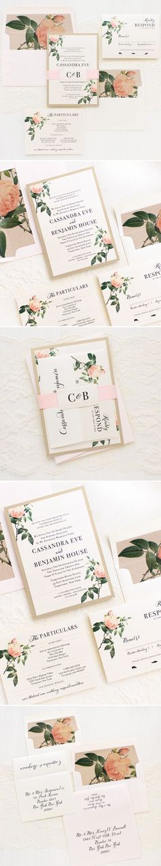 With a mix of vintage florals and elegant script, these Ivory & Blush Floral wedding invitations have just the right amount of romance. They're inspired by an elegant garden wedding with roses, greenery and neutral tones. Each invite set is paired with shimmery ivory paper, a shimmery blush guest envelope, shimmery gold backing paper and then wrapped with a monogramed blush peach ribbon belly band.