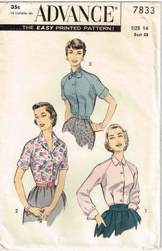 Vintage 1950s Sewing Pattern Tuck in Blouse Front Buttoned Advance 7833 by PeoplePackages