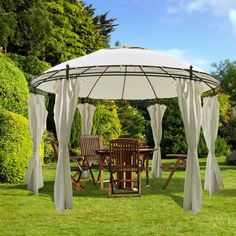 This gazebo will make a great shelter. This gazebo is water- and dirt repellent. Round Gazebo Curtains Party Tent Specification Makes the gazebo sturdy and very durable. This gazebo will be a perfect choice. Gazebo Curtains, Gazebo Canopy, Gazebo Pergola, Garden Gazebo, Outdoor Curtains, Gazebo Plans, Round Gazebo, Outdoor Garden Furniture, Outdoor Decor