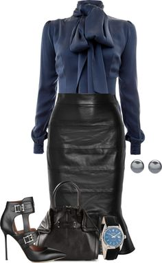 Classy Elegant Fluted Leather Skirt Outfit