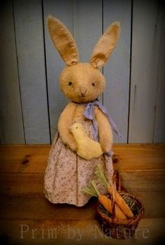 Primitive Bunny Rabbit Doll in a Rusty Can with baby Chick and Basket of Carrots #NaivePrimitive #PrimbyNature