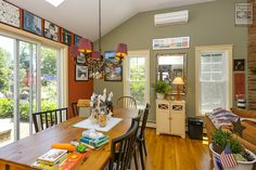 We love this bright and cheery dining area where we recently installed new double hung windows...  Home Improvements / Home Remodeling / Home Renovations / Replacement windows in dining room - from Renewal by Andersen Long Island