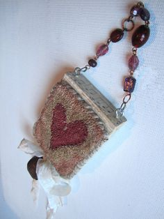 Primitive Punch Needle Pink Heart Ornament by Gollywobbles on Etsy, $15.00
