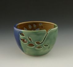 Yarn Bowl in Green Brown and Blue Leaf Pattern by AAslaksonPottery, $38.00