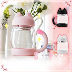 White/Pink/Black Kawaii Kitty Tea Mug/Cup SP179150